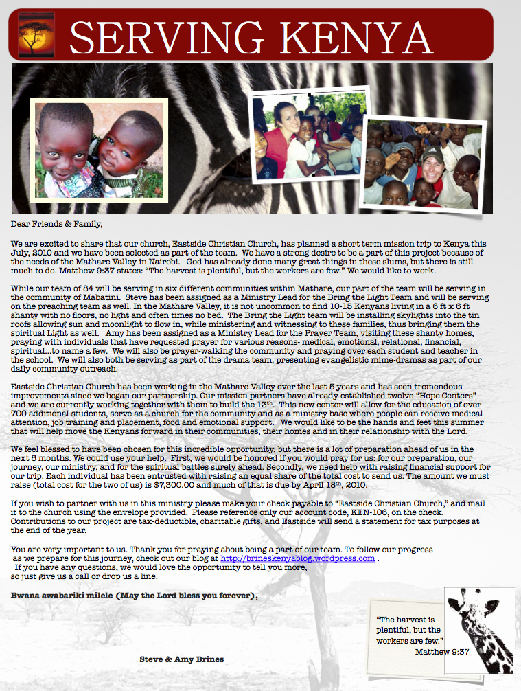 Missions Trip Fundraising Letter Inspirational Ken 106 Support Letter