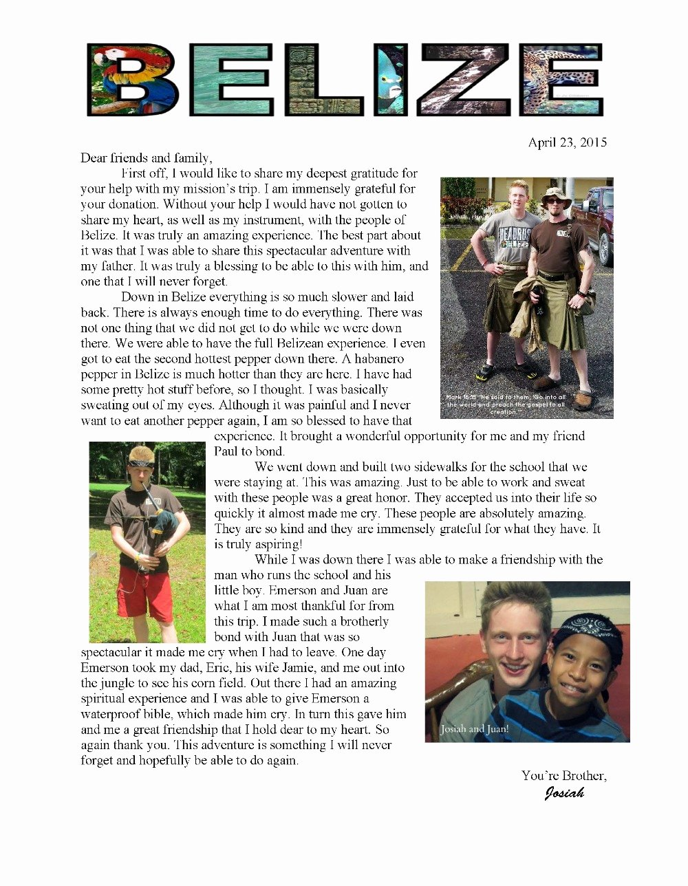 Missions Trip Support Letter Lovely Fundraiser by Carolyn Mckeon Josiah S Belize Mission Trip