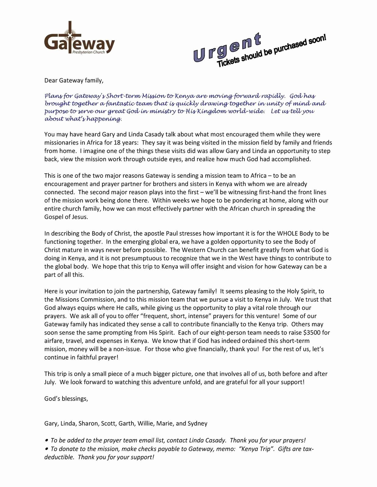 Missions Trip Support Letter Template New Mission Trip Letter Template Support Collection