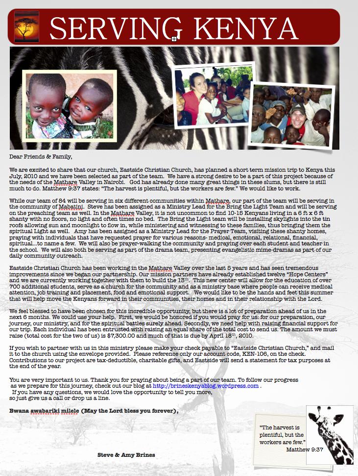 Missions Trip Support Letter Unique the Brines Kenya Blog Serving Kenya In 2010