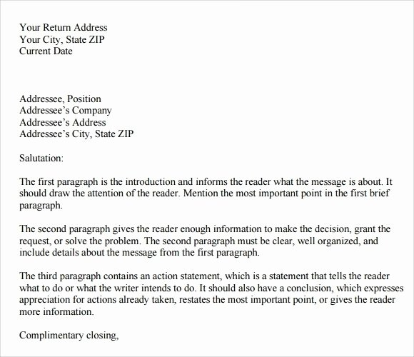 Mla Personal Letter format Fresh Personal Business Letter format