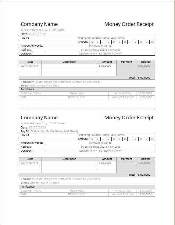 Money order Receipt Generator Beautiful 4 Best Money order Receipt Template