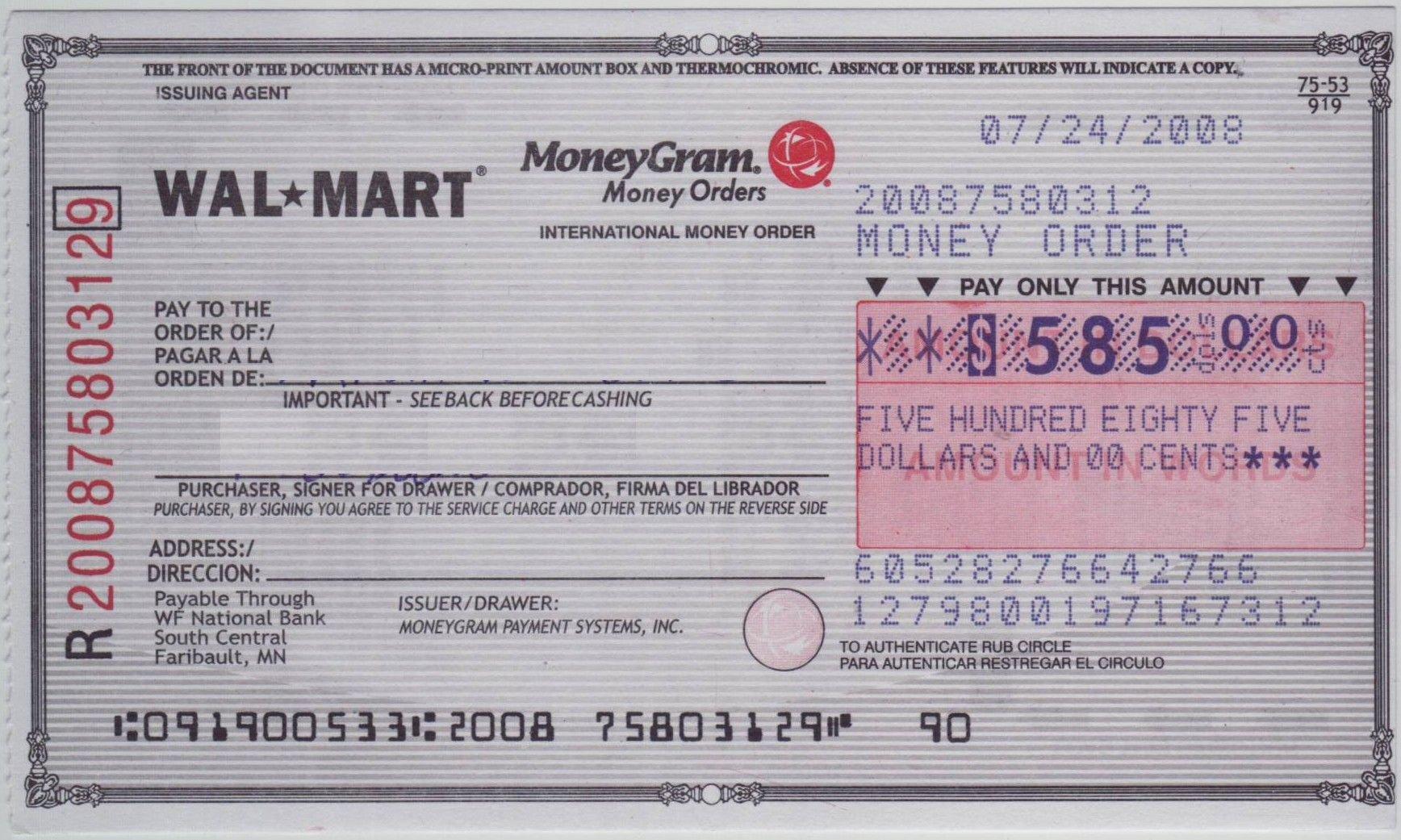 Money order Receipt Generator Elegant Blank Check Sample