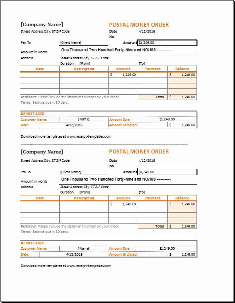 Money order Receipt Generator Luxury Money order Receipt Template for Excel