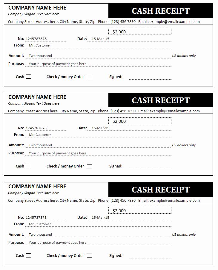 Money order Receipt Template Elegant Cash Receipt and Invoice Templates