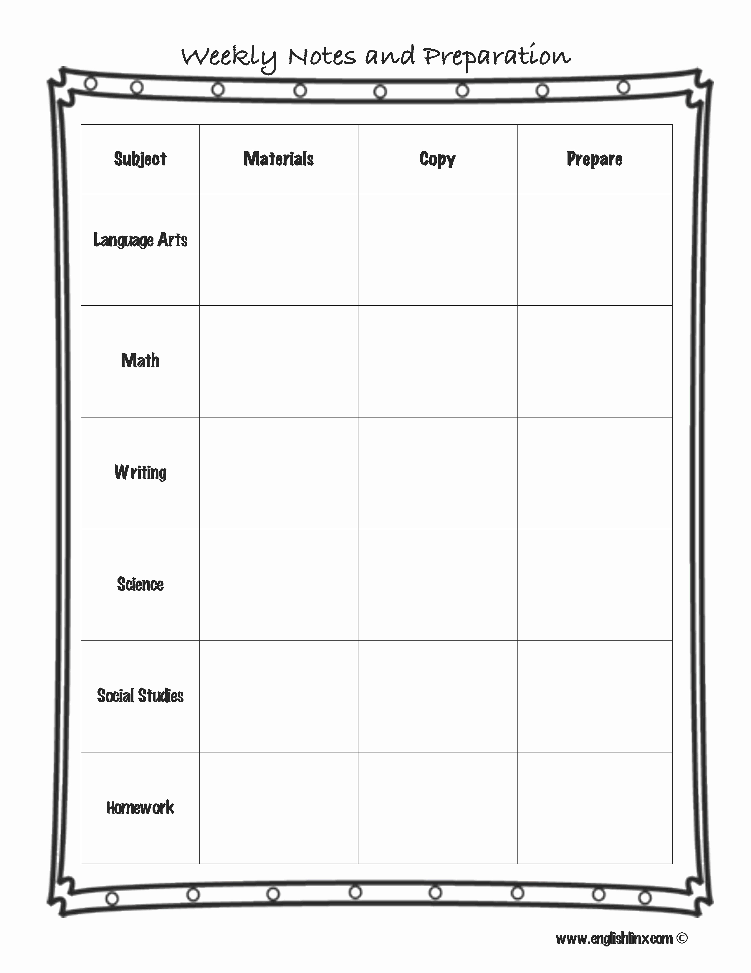 Monthly Lesson Plan Template Awesome Englishlinx