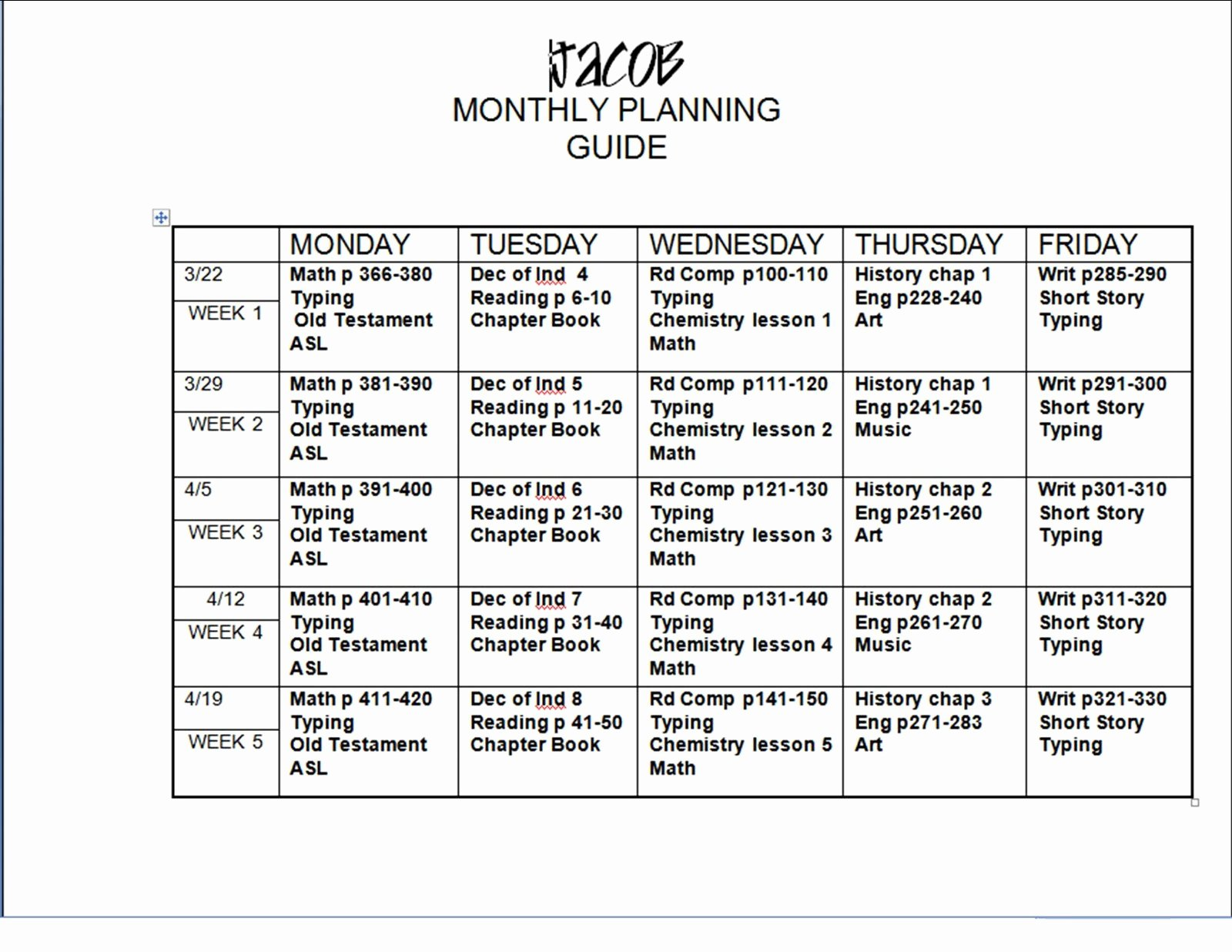 Monthly Lesson Plan Template Fresh 6 Lesson Plan Templates Excel Pdf formats