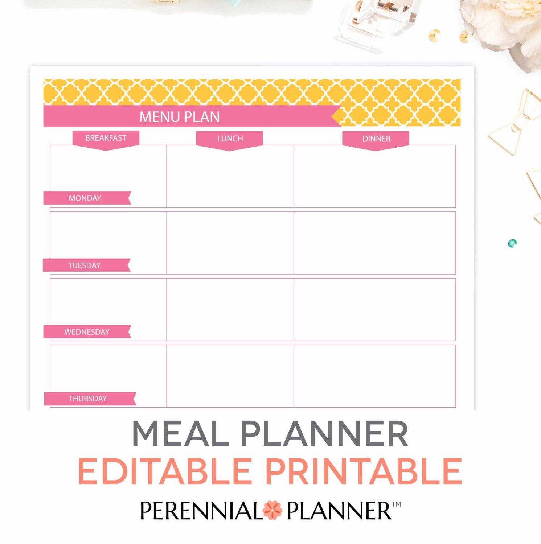 Monthly Meal Plan Template Elegant Menu Plan Weekly Meal Planning Template Printable Editable