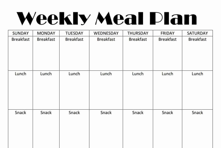 Monthly Meal Plan Template Fresh Printable Weekly Meal Plan Template