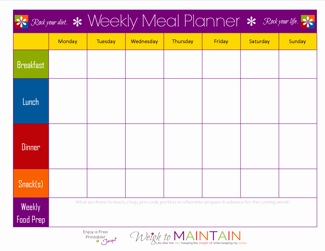 Monthly Meal Plan Template Inspirational Weekly Food Chart Template