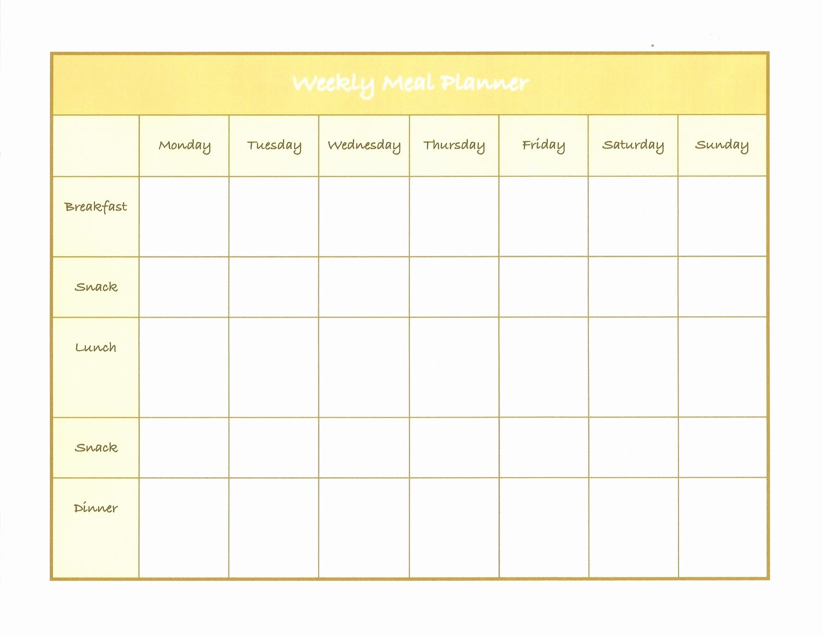 Monthly Meal Plan Template Inspirational Weekly Menu Template
