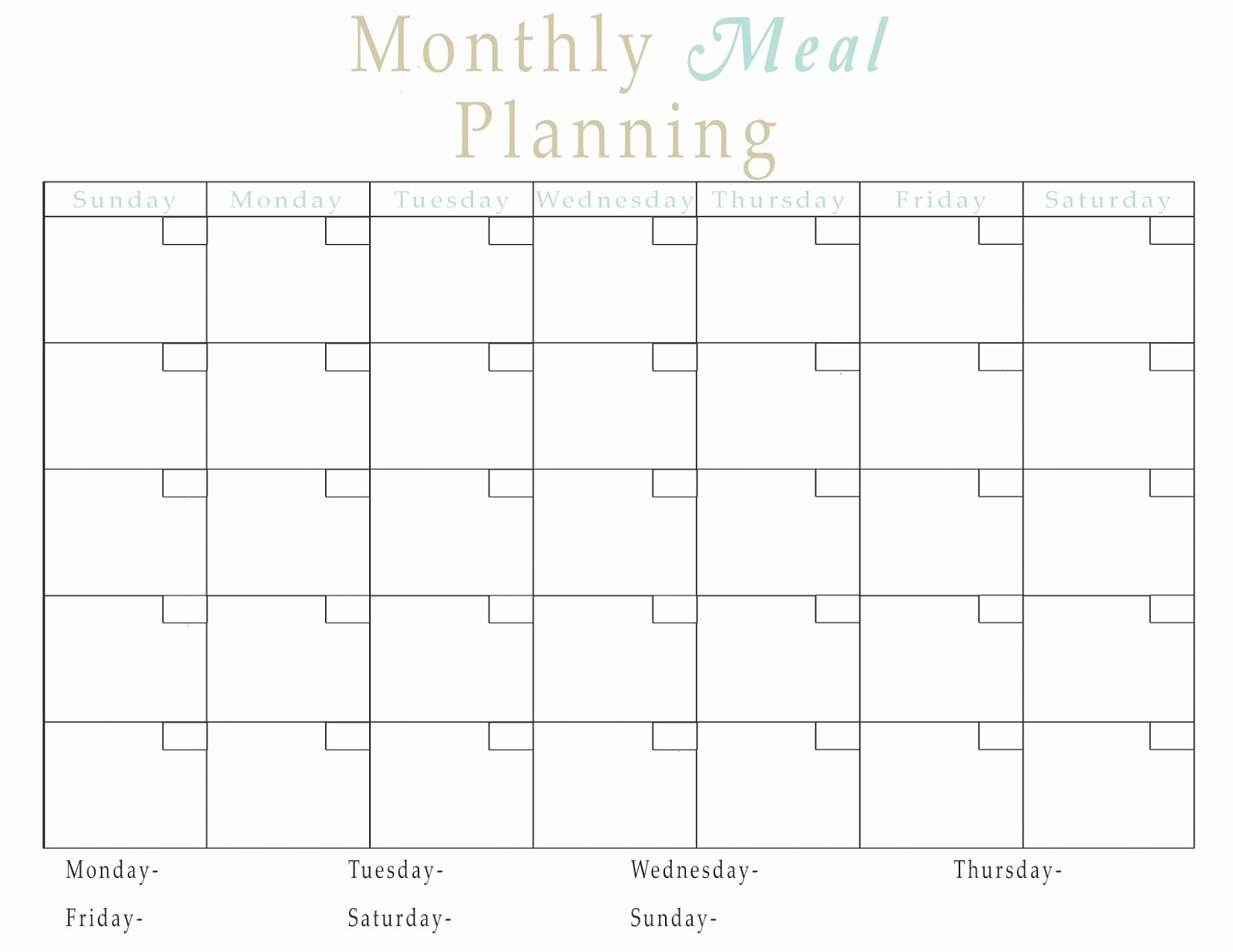 Monthly Meal Plan Template Lovely Easy Meal Plan Structure with Free Printables Fun Cheap