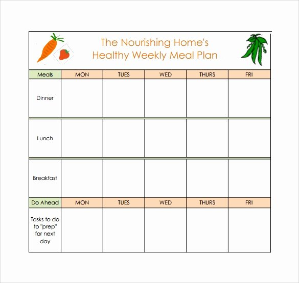 Monthly Meal Plan Template New 18 Meal Planning Templates Pdf Excel Word
