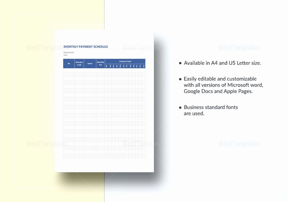 Monthly Payment Plan Template Fresh Monthly Payment Schedule Template In Word Excel Apple