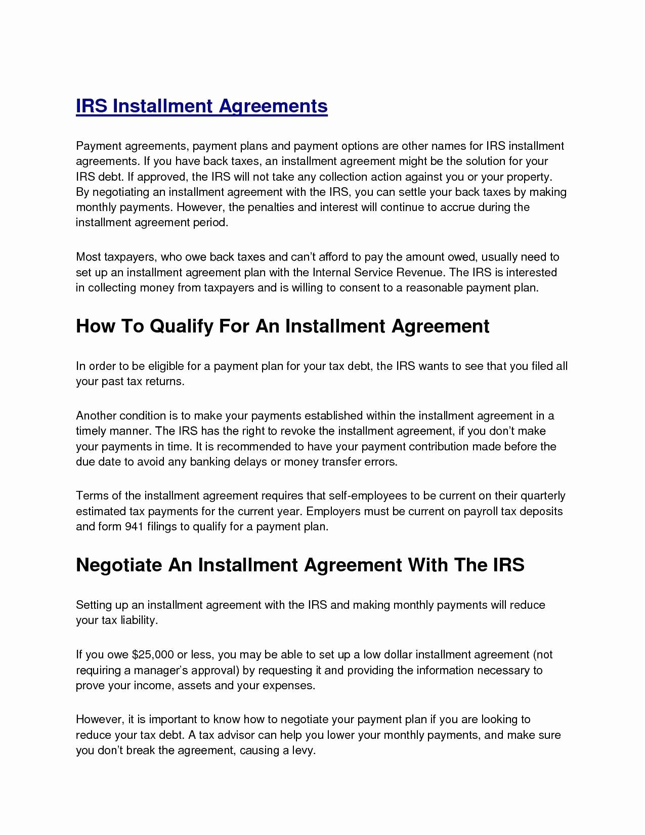 Monthly Payment Plan Template Inspirational Installment Agreement form Perfect Monthly Payment