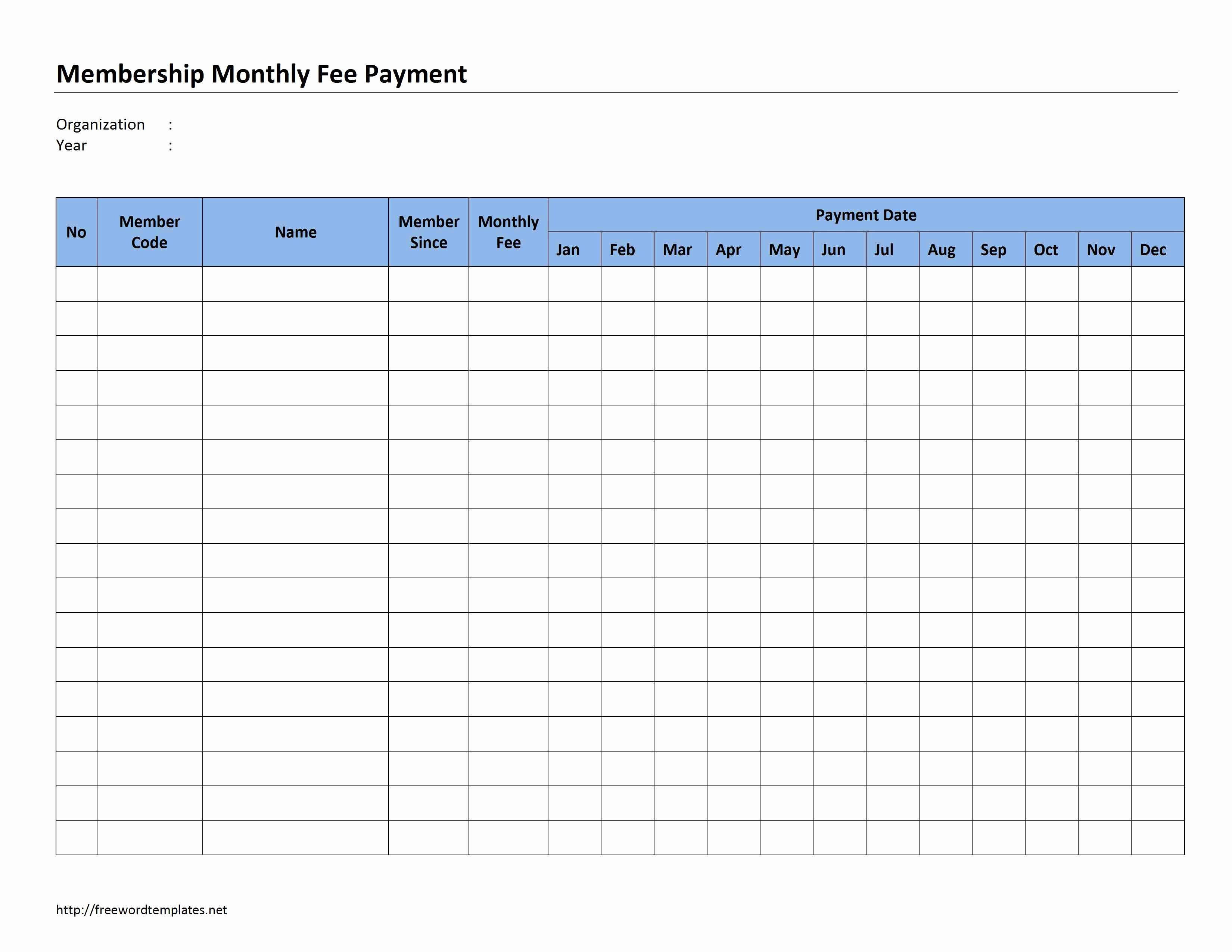 Monthly Payment Plan Template Luxury Membership Monthly Fee Payment