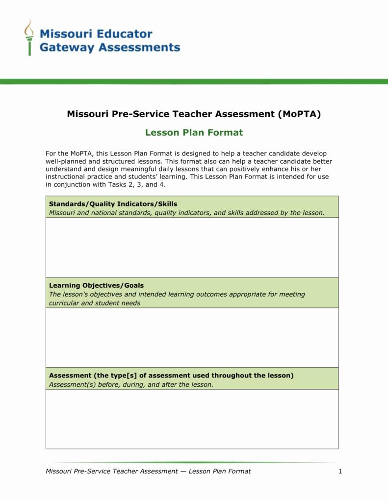 Mopta Lesson Plan Template Elegant Lesson Plan format Word the Missouri Performance
