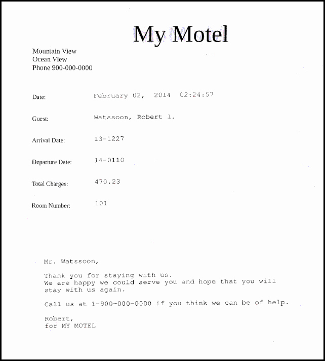 Motel 6 Receipt Template Awesome Motel Receipt Tierianhenry
