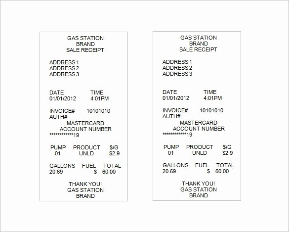 Motel 6 Receipt Template Inspirational Gas Station Receipt Template Fuel Receipt Template