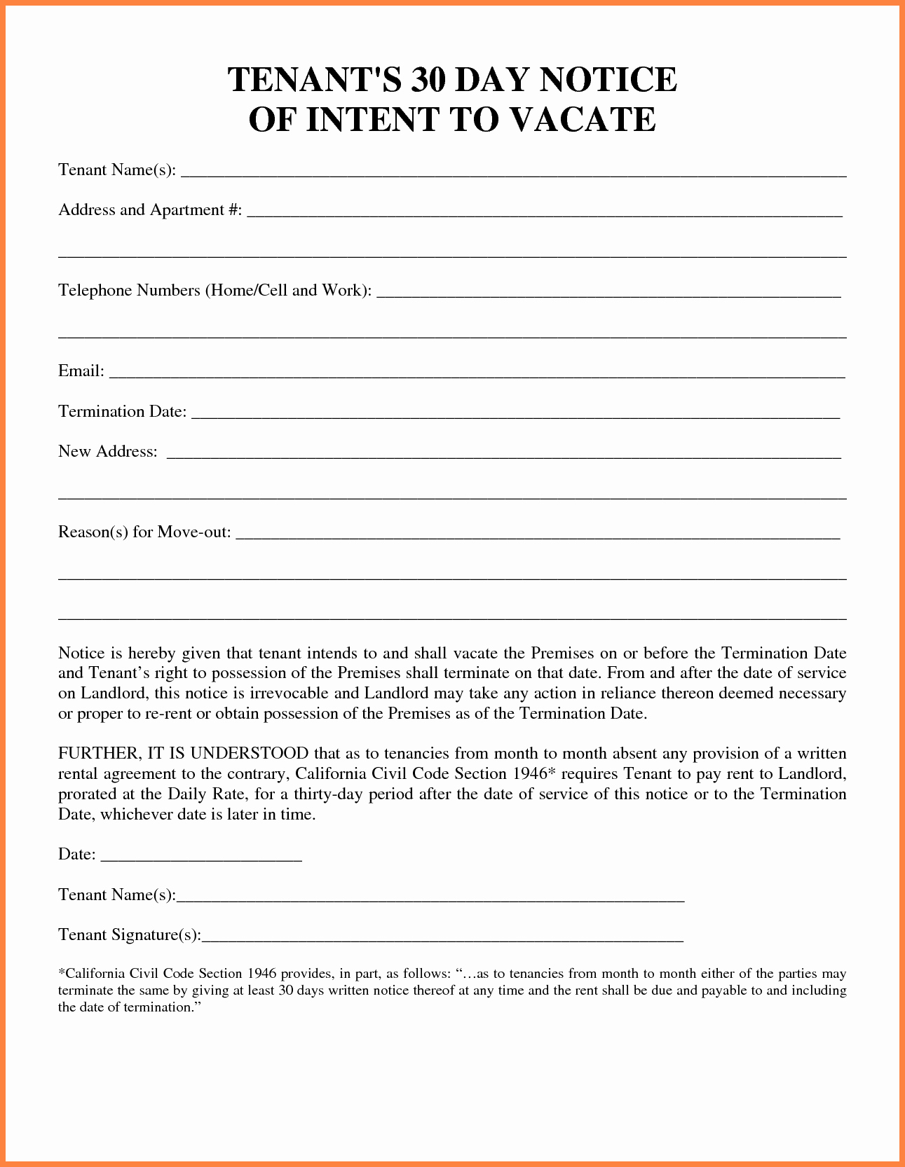Move Out Agreement form Inspirational 6 Example Of A 30 Day Notice