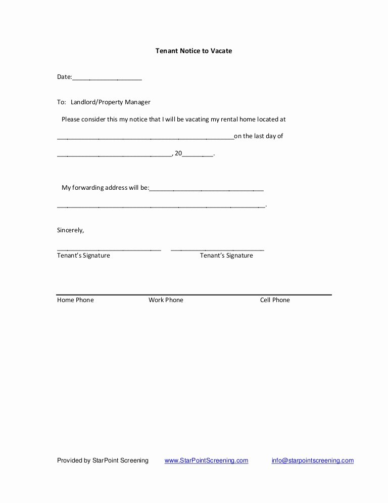 Move Out Agreement form Luxury Tenant Notice to Vacate