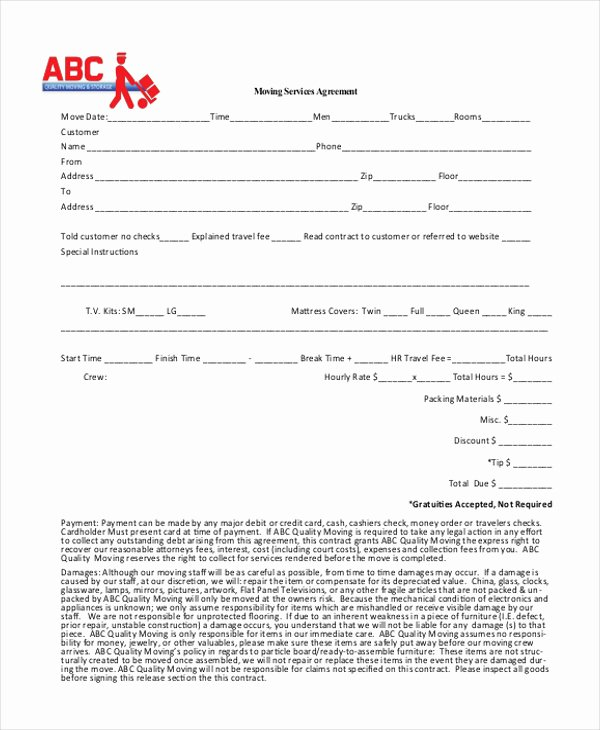 Move Out Agreement form New 9 Sample Pany Contract Agreements Word Pdf