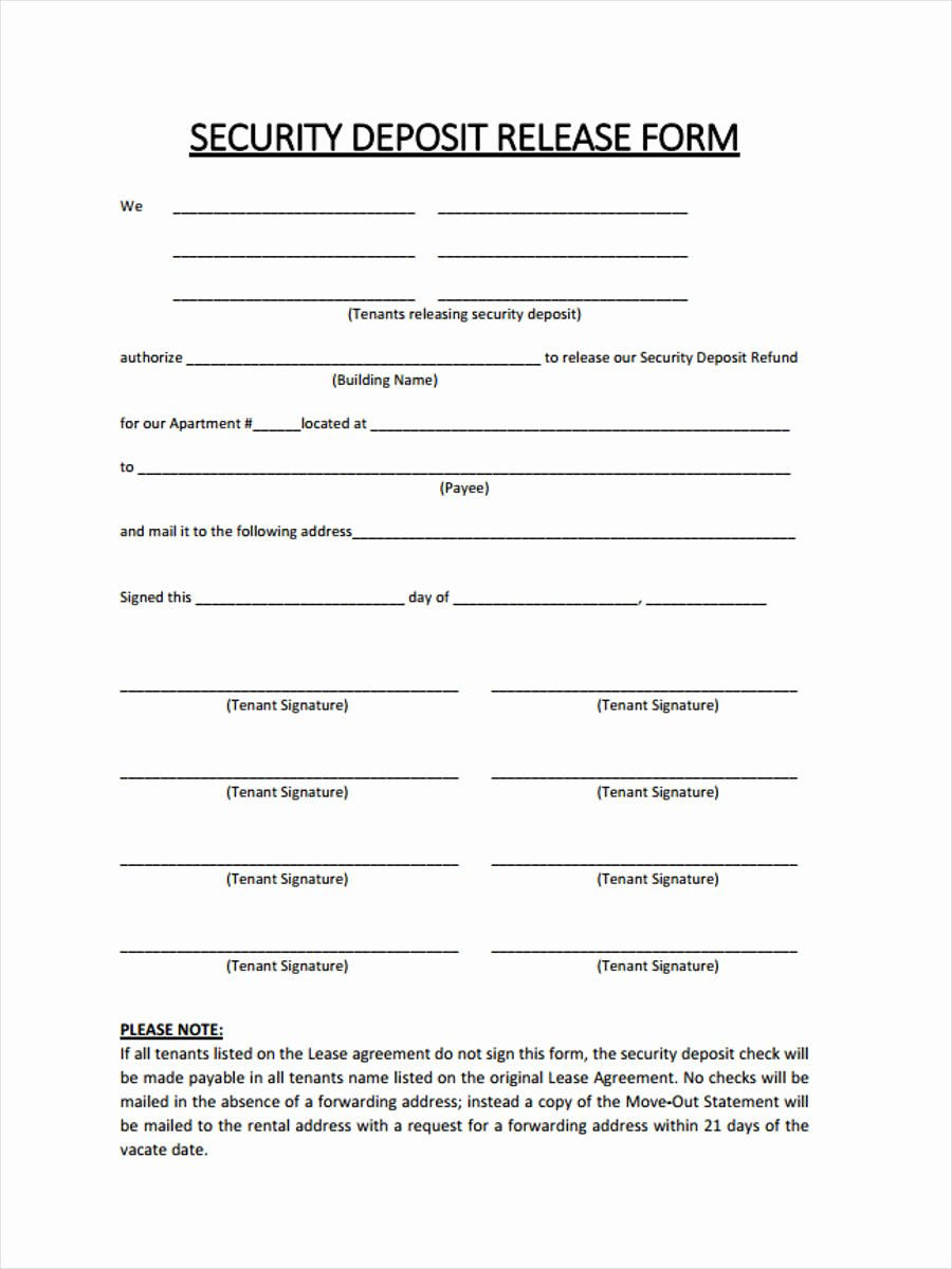 rental deposit form sample