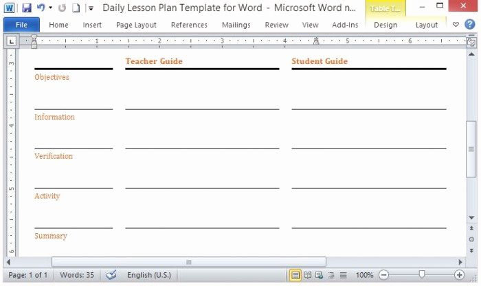 Ms Word Lesson Plan Template Awesome Microsoft Word Template for Making Daily Lesson Plans