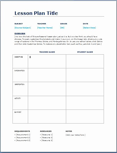 Ms Word Lesson Plan Template Best Of Teacher Daily Lesson Planner Template