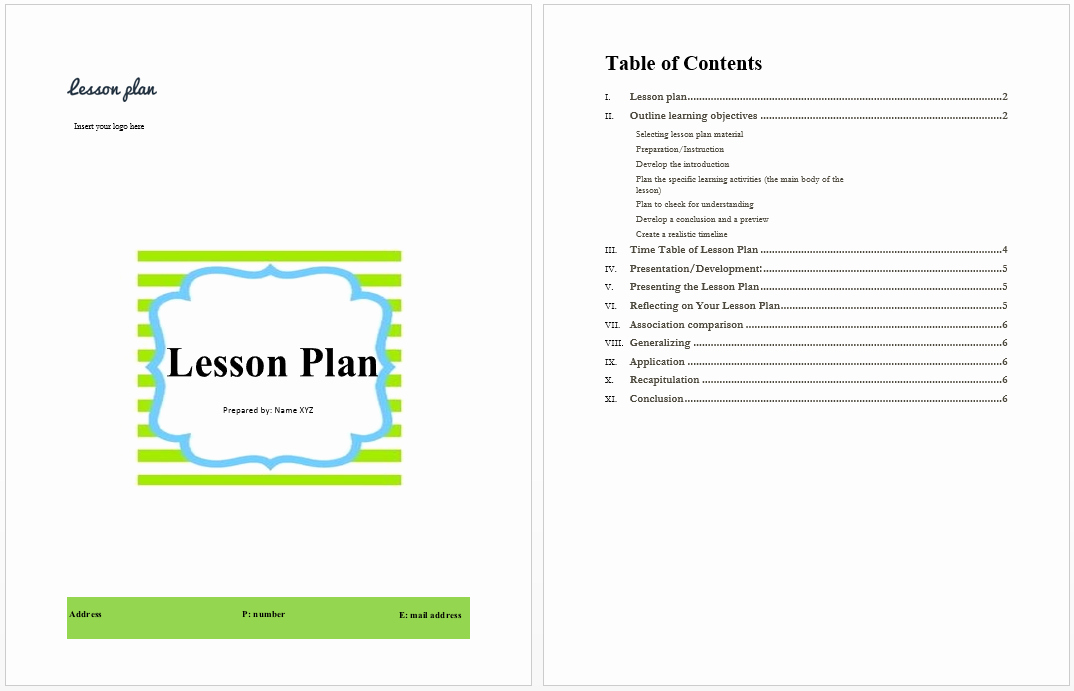 Ms Word Lesson Plan Template Elegant Lesson Plan Template Microsoft Word Templates