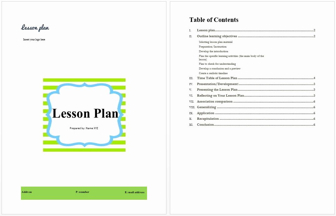 Ms Word Lesson Plan Template Elegant Lesson Plan Template Microsoft Word Templates