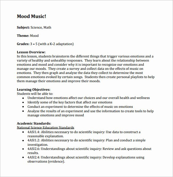 Music Business Plan Template Awesome Music Lesson Plan Template 7 Free Word Excel Pdf