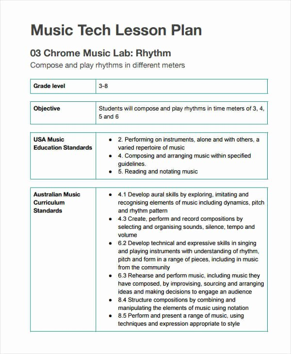 Music Lesson Plan Template Awesome 11 Lesson Plan formats