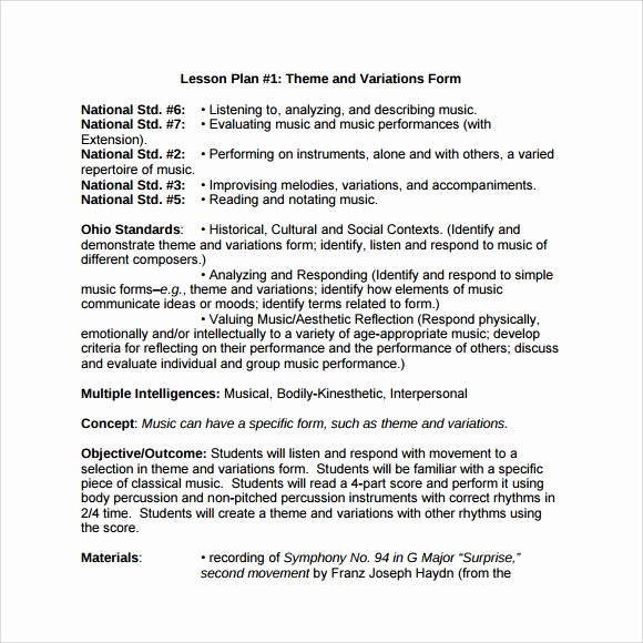Music Lesson Plan Template Doc Awesome Sample Music Lesson Plan Template 8 Free Documents In