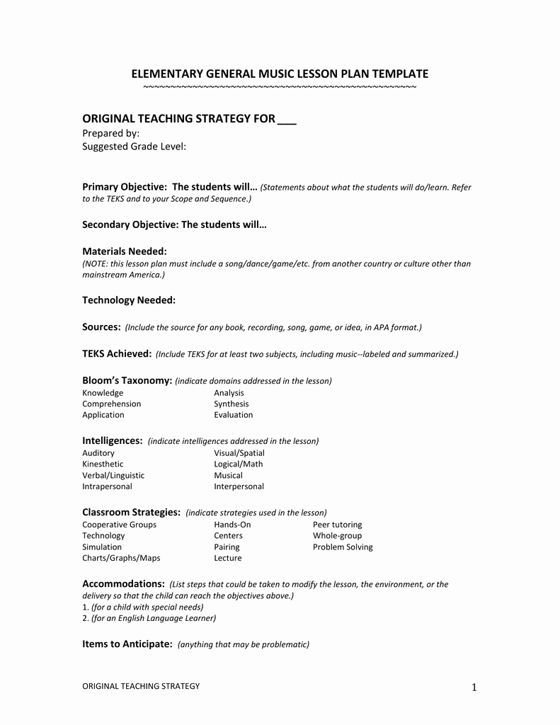 Music Lesson Plan Template Doc Elegant General Music Lesson Plan Template – Elementary General