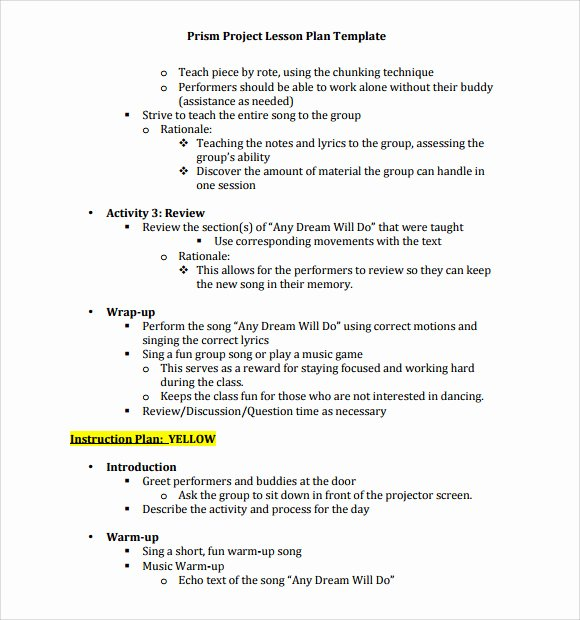 Music Lesson Plan Template Doc Inspirational Sample Music Lesson Plan Template 8 Free Documents In