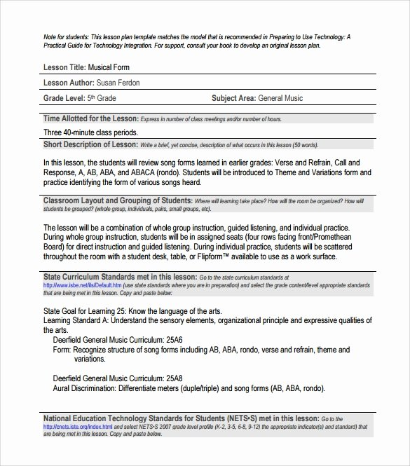 Music Lesson Plan Template Doc Luxury 8 Sample Music Lesson Plans