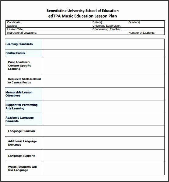 Music Lesson Plan Template Doc Unique 10 Academic Lesson Planner Template Sampletemplatess