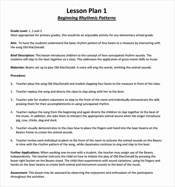 Music Lesson Plan Template Lovely 9 Music Lesson Plan Templates Download for Free