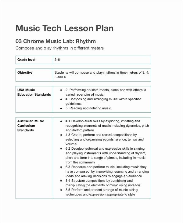Music Lesson Plan Template Lovely Music Lesson Plan