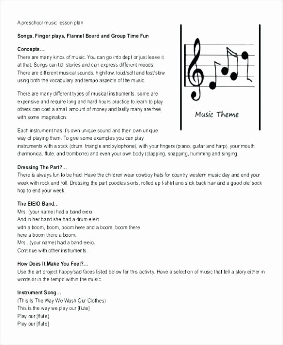 Music Lesson Plan Template Luxury Cute Lesson Plan Template Free Editable Download Plans In