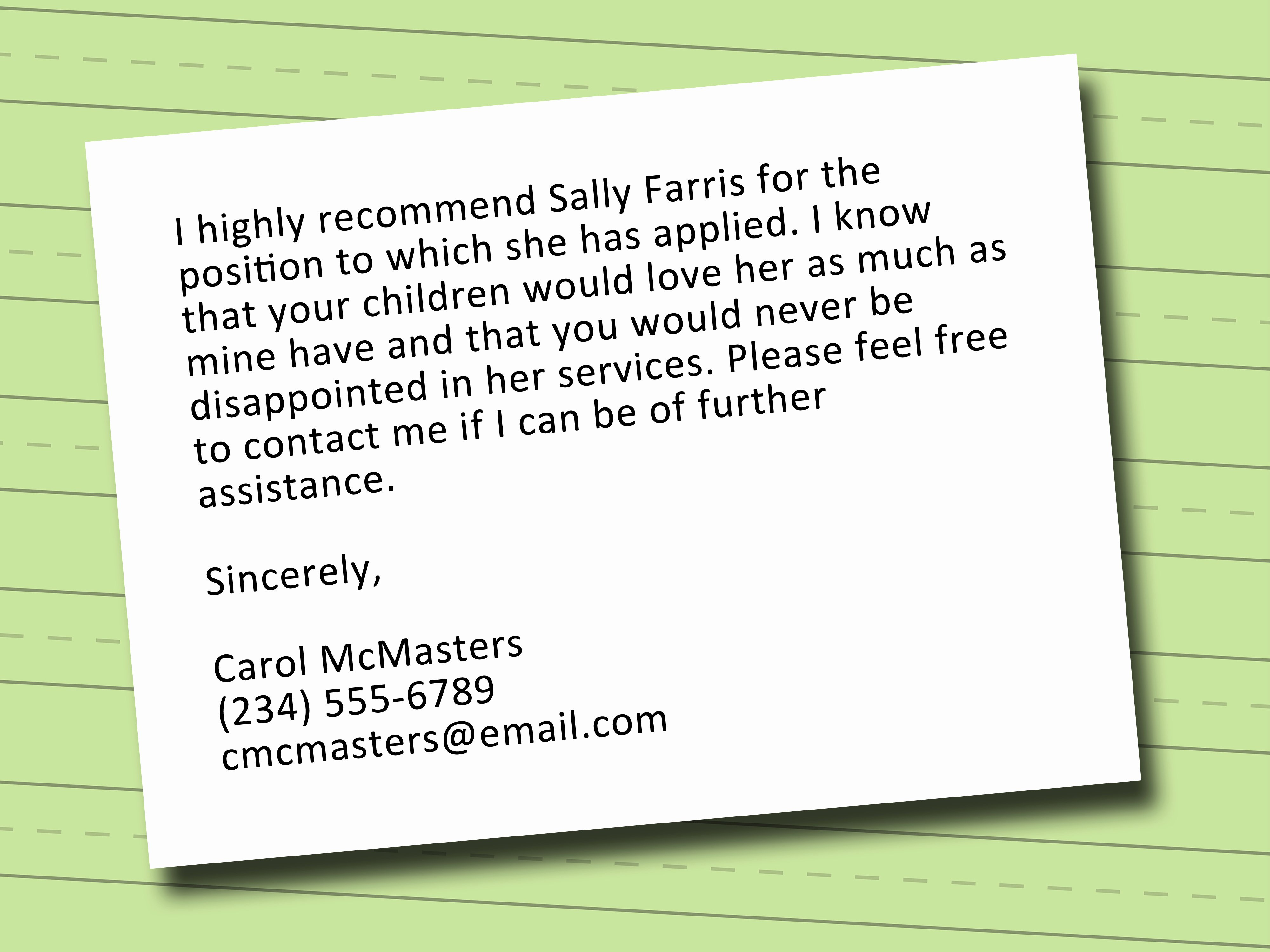 Nanny Letter Of Recommendation Awesome How to Write A Letter Of Re Mendation for A Nanny with