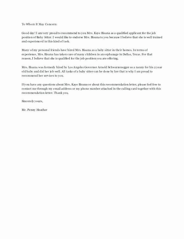 Nanny Letter Of Recommendation Awesome Nanny Reference Letter Picture Elegant Re Best Sample