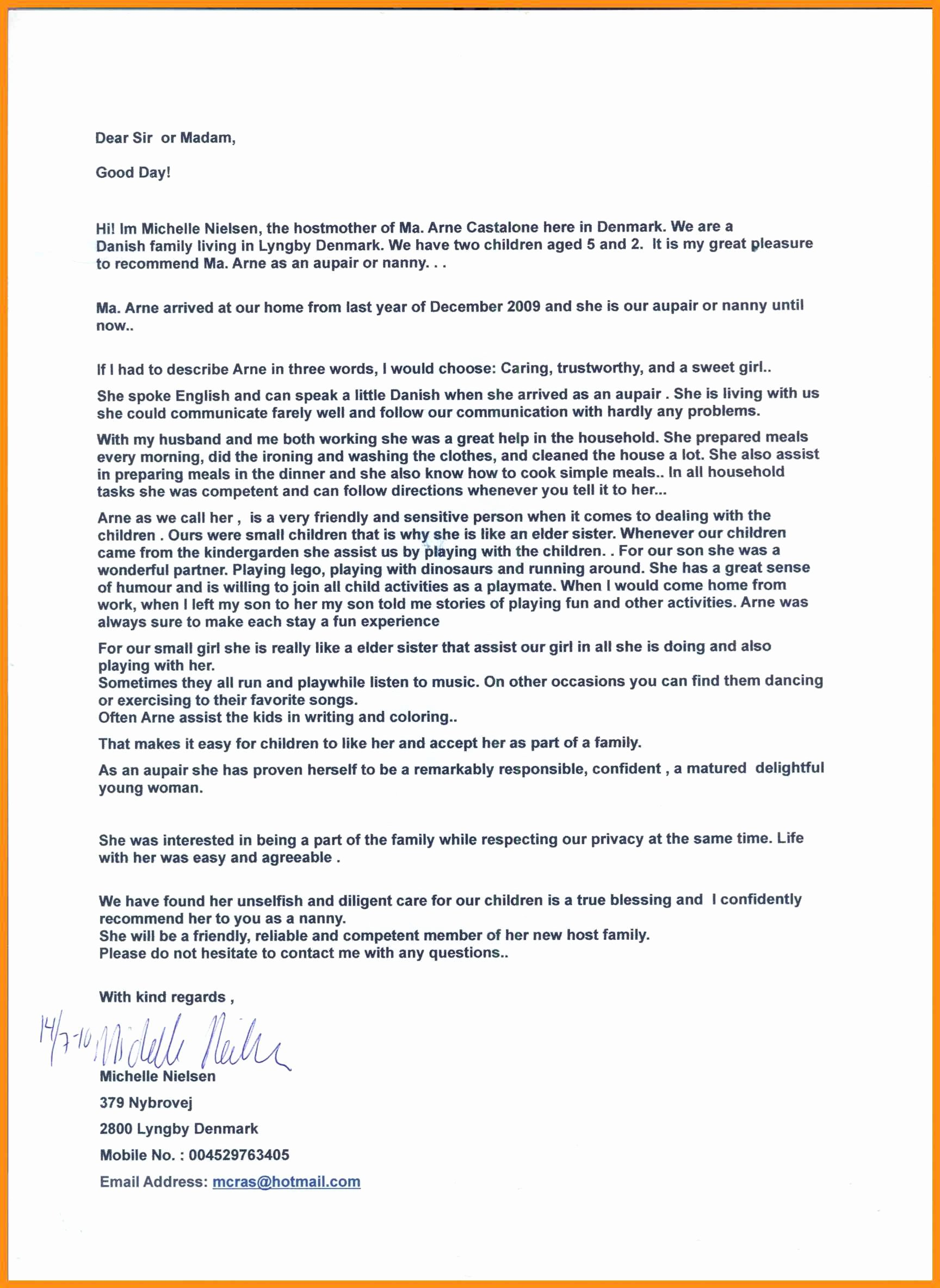 Nanny Letter Of Recommendation Beautiful Letter Of Re Mendation Nanny