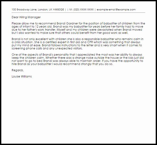 Nanny Letter Of Recommendation Best Of Babysitter Re Mendation Letter Example