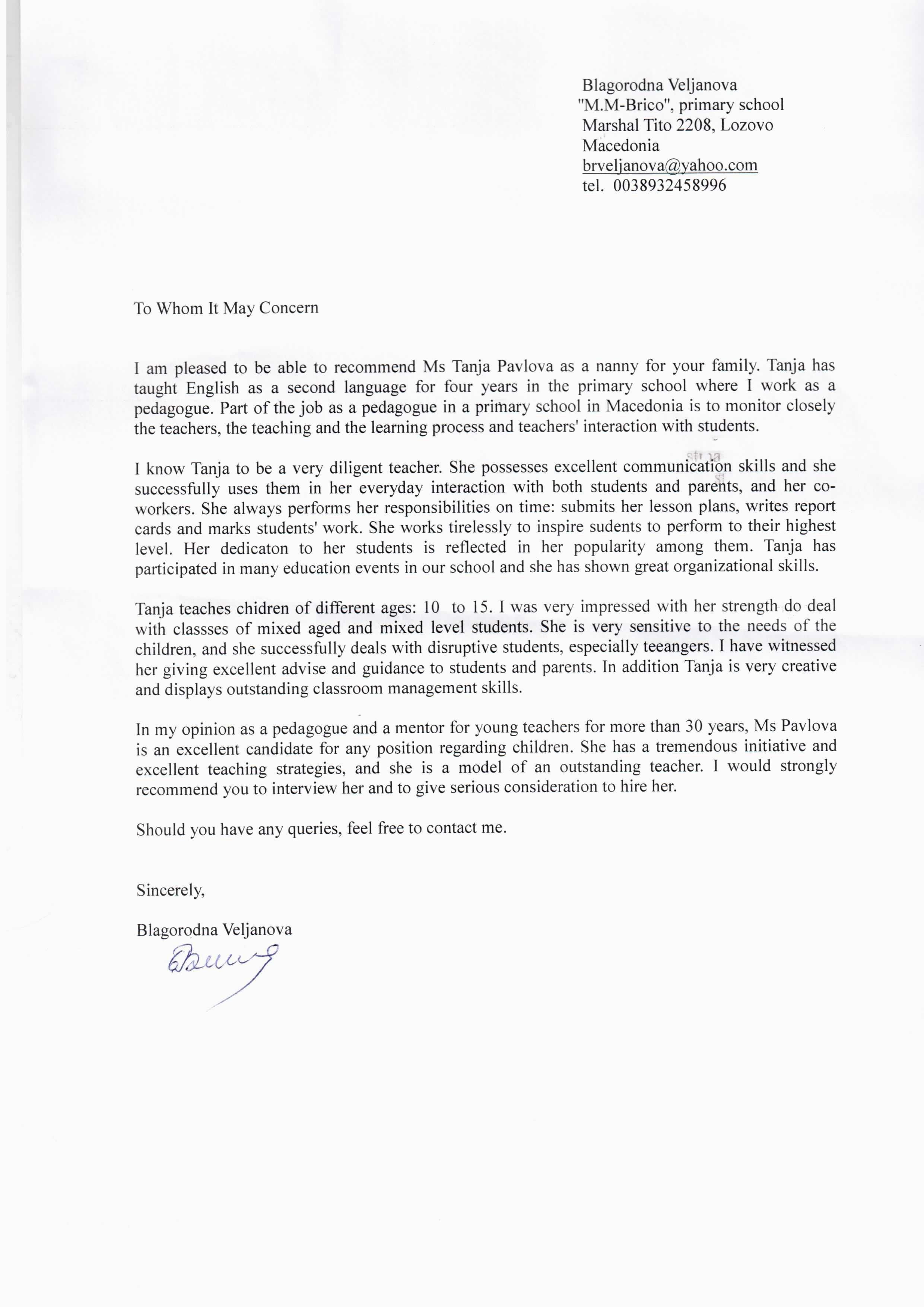 Nanny Letter Of Recommendation Best Of Reference Letter Nanny Efimorena