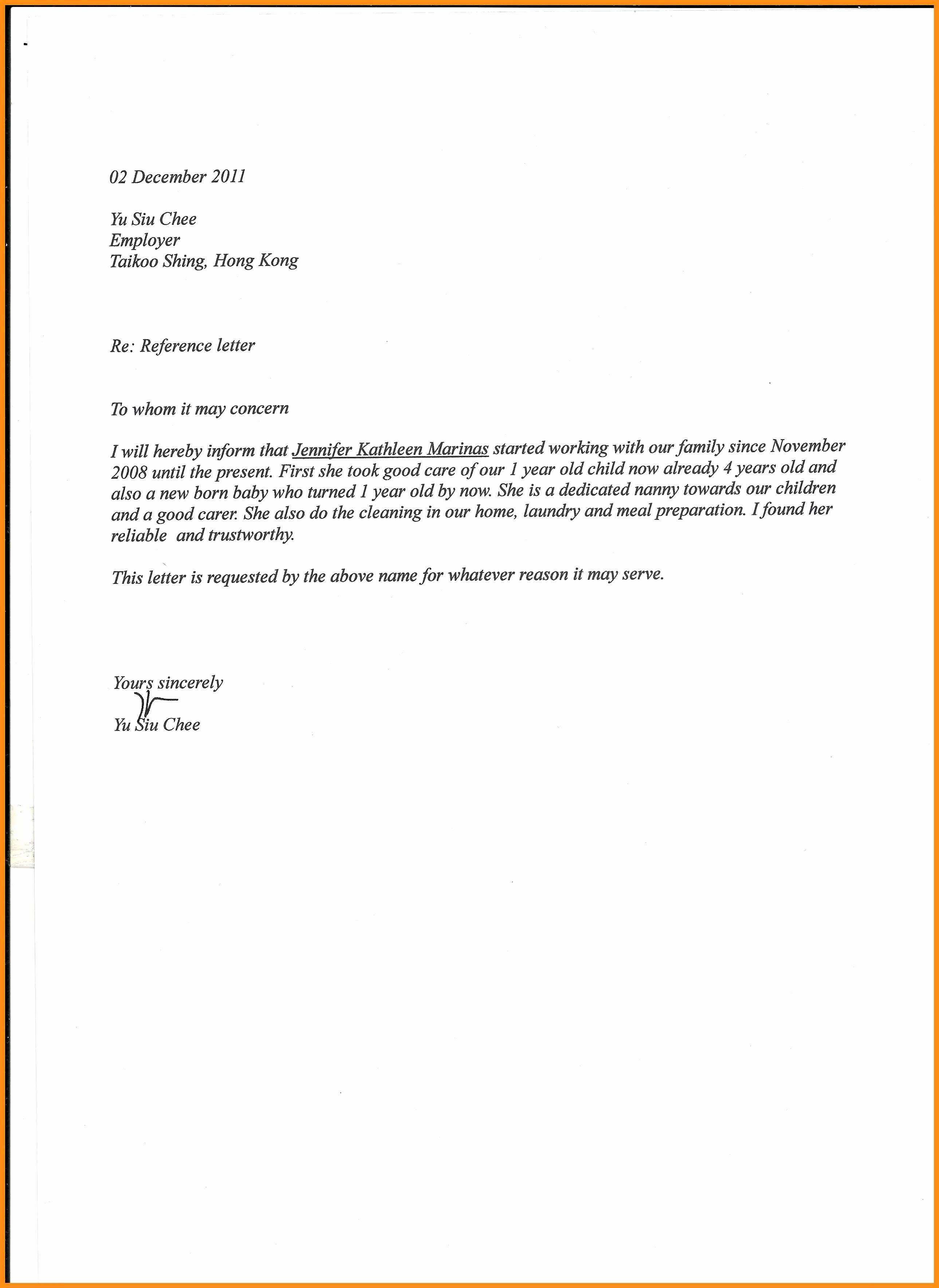 Nanny Letter Of Recommendation Fresh Letter Of Re Mendation Nanny