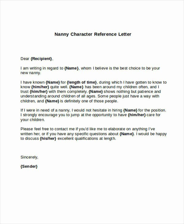Nanny Letter Of Recommendation Inspirational 5 Sample Nanny Reference Letters Pdf Word