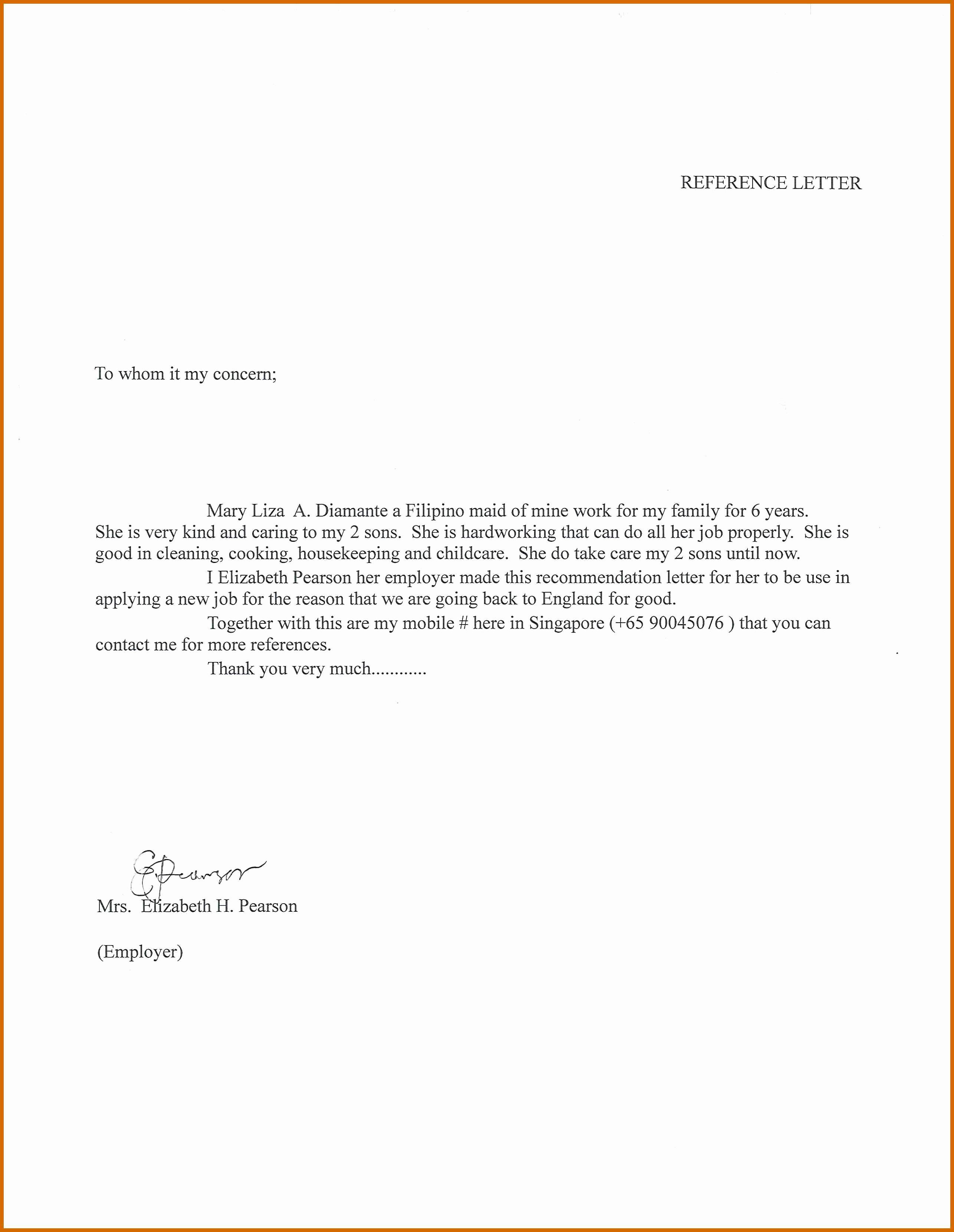 Nanny Letter Of Recommendation Inspirational 6 7 Nanny Reference Letter