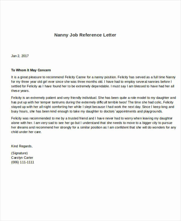 Nanny Letter Of Recommendation Lovely 5 Sample Nanny Reference Letters Pdf Word